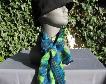 Long Silk Scarf in rich Blues & Greens Firework Design by ACUTE Summer Accessory