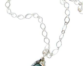 Aquamarine Necklace, Lily Necklace, Charm Necklace, Silver Charm Necklace, Pendant Necklace