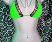 Three Piece Stripper Outfit, Choker, Quad-Thong, Triangle Top. Custom Made