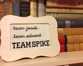 TEAM SPIKE - Buffy the Vampire Slayer framed cross stitch