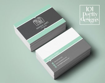 Mint business card, premade business card, custom business card design,printable business card template modern business card photography