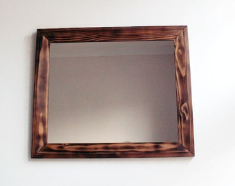 Wall Mirror - Wooden Mirror - Handmade Reclaimed Wood Frame - Decorative Wall Mirror - Pine Mirror - Reclaimed Pine Mirror - 18 x 15 mirror