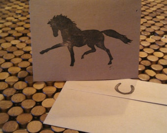 Extended Trot Hand-Stamped Note Cards with Coordinating Envelopes (Black on Natural) - Equestrian Gift - Just Because