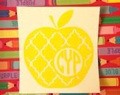 Quatrefoil Teacher Apple Monogram Decal