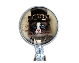 Badge Reel ID Retractable Lanyard Name Card Badge Holder Steampunk Cat With Black Hat With Goggles And Spectacle