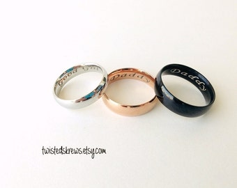 CUSTOM ENGRAVED Stainless Steel rings couples Black Silver Rose Gold ddlg daddy sub little master mistress owner owned baby girl ring BDSM