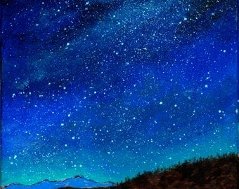 Art Print Camping Under the Stars from Original Painting and Wood burning