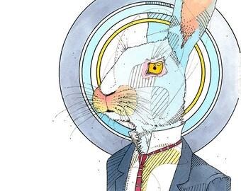 Business Rabbit- Limited Edition Fine Art Print 5x7.