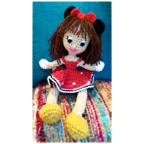 Crochet Minnie Mouse Doll : Minnie Mouse Customizable Crochet Doll by MissEllyMade on Etsy