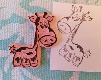 Handmade/Carved Rubber Stamp Cute Baby Giraffe