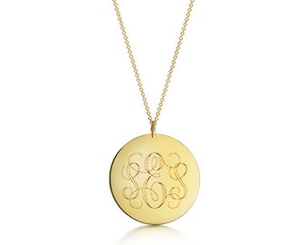 Disc Monogram Necklace / Gold Initial Engraved Large Pendant / Personalized Gift / Round Initial Pendant / Medal Monogram Initial Necklace