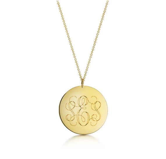 Disc monogram necklace gold initial engraved large pendant like this item mozeypictures Images
