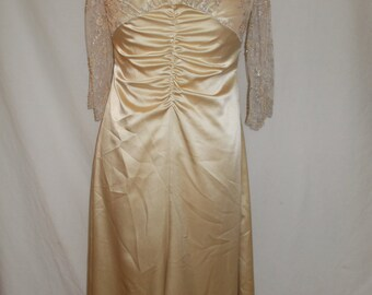 Vintage dress by Tyrell & Brennan of Dublin Champagne colour beaded evening dress size medium