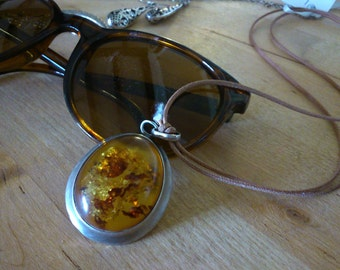 925 Silver and amber pendant with cord necklace