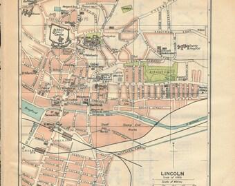 1930 Lincoln United Kingdom (Great Britain) Antique map