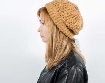 Gold Knit Slouch Winter Hat