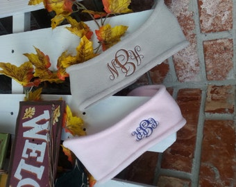 Ladies Monogrammed Fleece Headband - Ear Warmers - Ski Band - Ear Muff. Personalized headband ear warmer.