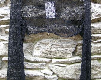 Black ethereal shrug cardigan / Black knit shrug cardigan