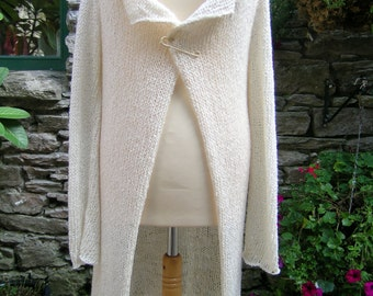Knit cardigan / Beautiful floaty cream / Ethereal cream knit cardigan