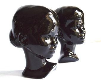 Black Vintage Ceramic Busts Boy and Girl Black Holland Mold Set of Two