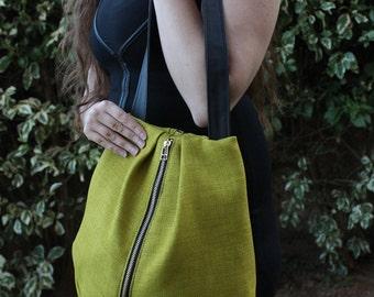 ROME tote, Green tote bag with zipper, Green Bag, women bag, Fabric bag, shoulder bag tote, Everyday Bag, Vegan bag
