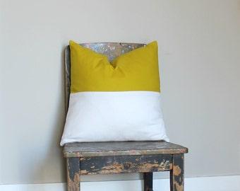 On SALE - Last 2 Acid Yellow & White color block pillow cover, white cushion cover, industrial decor, two tone pillow cover, lumber pillow
