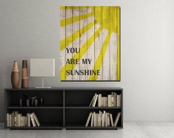 You are my sunshine Wood Sign, You are my sunshine Wall Art, Baby Nursery Art, Nursery Art Print, Printable Nursery Decor , Digital Download