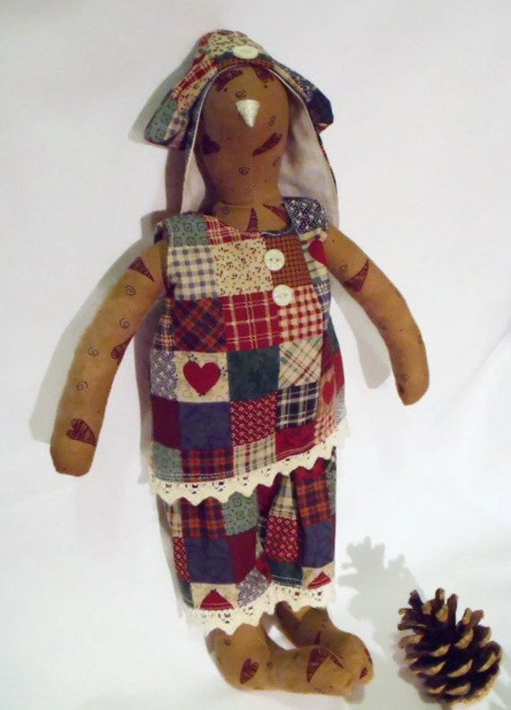"""primitive Tilda bunny, rabbit doll, plush rag doll, collectable doll, nursery décor, patchwork outfit, easter gift, 14"""" tall"""