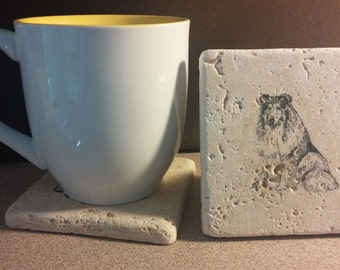 Set of 4 Collie Travertine Stone Coasters