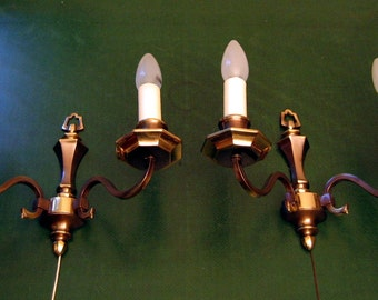Two-armed Brass Wall Lamp from the 60s