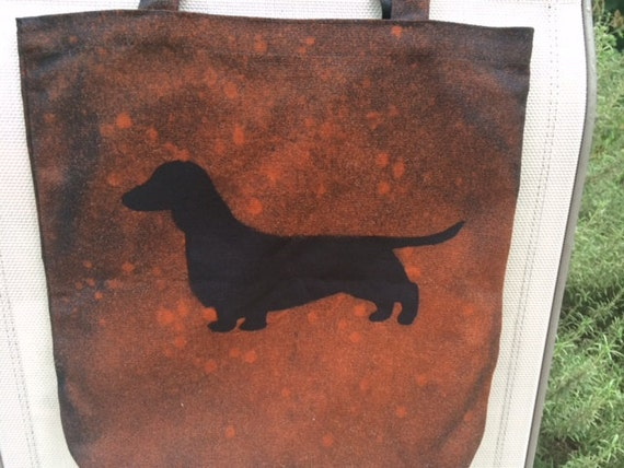 Canvas Bleach Art Dachshund Bag