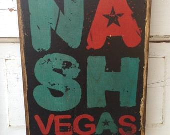 Nashville Typography Art on Wood, Nashville Decor, NashVegas, Nashville Tennessee Wood Sign, Music City Sign, Nashville Country Music Art