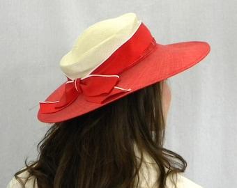 80s Red & White Straw Hat | Straw Wide Brim Hat |  Strata of London