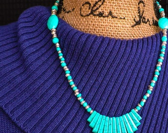 Turquoise and silver fan necklace