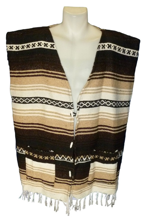... Beach Sweater Mexican Surfer Poncho Baja Serape Mexican Blanket Vest