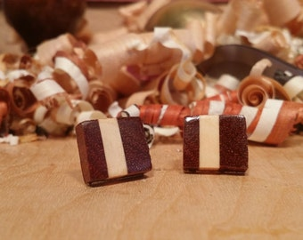 Bloodwood and Holly Offset Handmade Earrings - Stainless Steel Posts