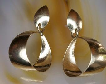 14k Yellow Gold Filled Post Drop Hoop Earrings