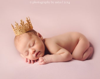 Gold Lace Crown Tiara Photography Prop for Infant, Newborn, Baby