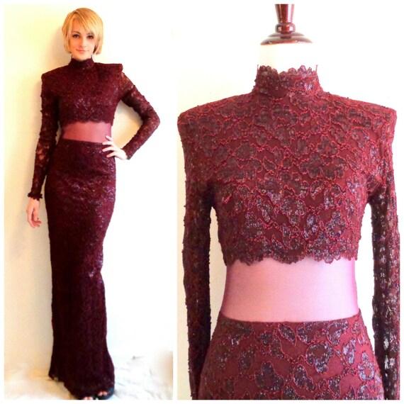 Dress floor length mesh dress high neck shoulder pads 80s