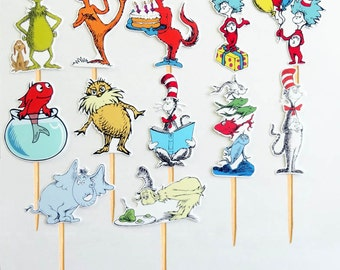 12 Dr. Seuss Cat In The Hat Birthday Party Cupcake Cake Toppers