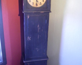 Primitive Grandfather-Style Battery Operated Clock with Closet Storage and Hand-Forged Hooks