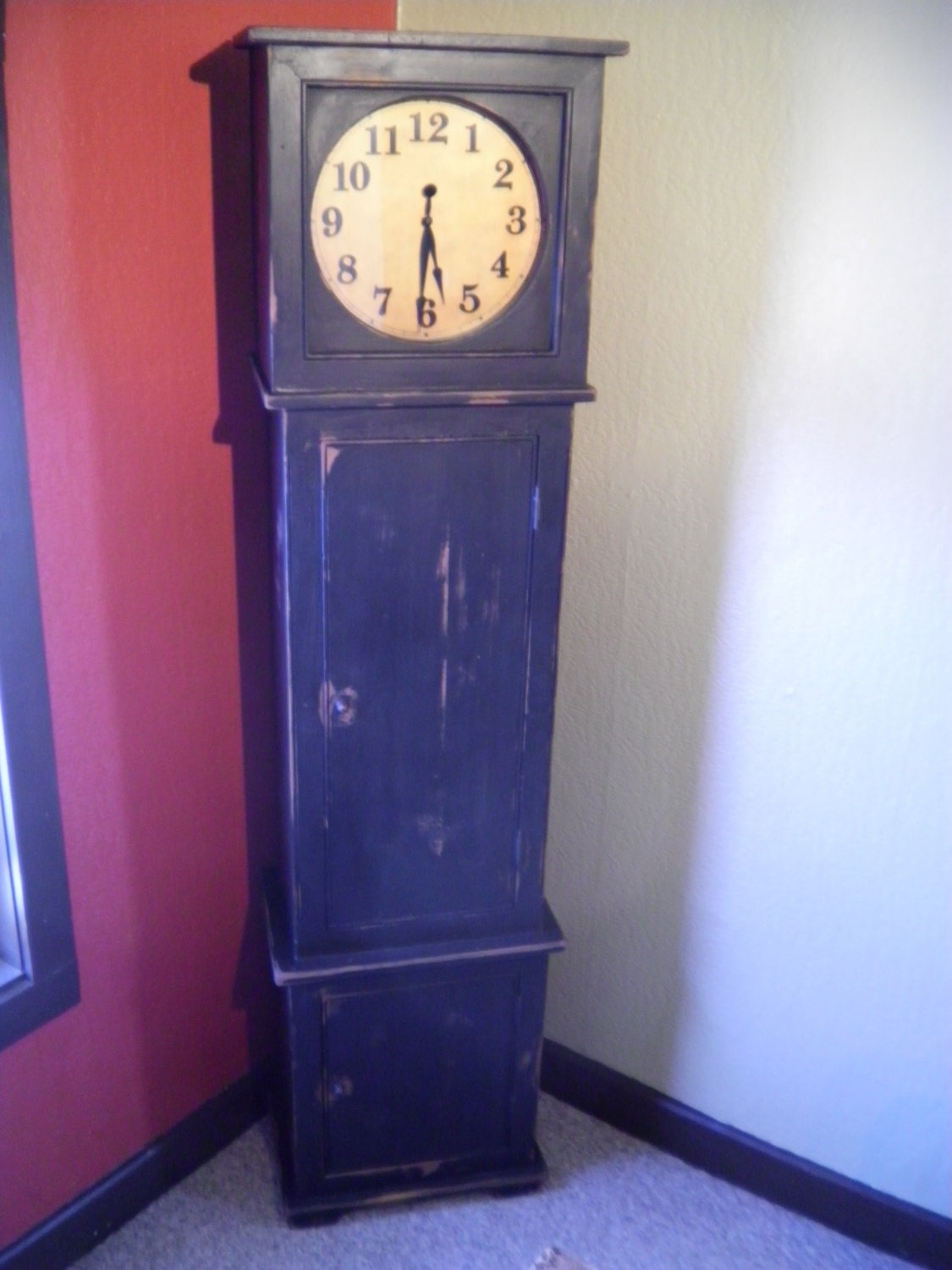 Primitive Grandfather Style Battery Operated Clock With Closet