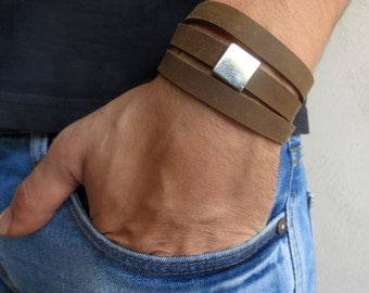 Men's Bracelet - Men Leather Bracelet - Men's Jewelry - Men Bracelet - Men Jewelry - Men's Gift - Boyfriend Gift - Husband Gift - Male