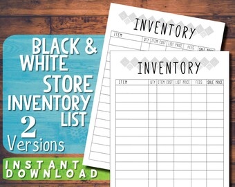 Printable Black and White Store Inventory A4 List Chart - Business Organisation - Instant Download PDF