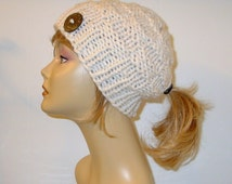 Chunky Knit Ivory Cream Pony Tail Hat Beanie Ponytail Hole Women's Teens Hat Soft Wool Blend Alaskan Made