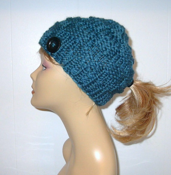 Knit Hat Pattern Ponytail Hole : Chunky Knit Teal Blue Pony Tail Hat Beanie by AlaskanKnitGifts