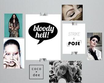 Typography print, fun quotes, bloody hell, speech bubble, british sayings, minimal art, stylish quotes, typographic print, quotes, wall art