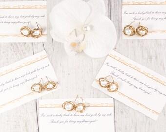 Set of 5 freshwater bridesmaid earrings