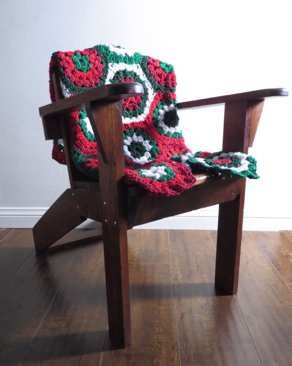 Holiday Crochet Blanket, Christmas, Hexagon Design, Red, Dark Red, Green, Dark Green, White, Made to Order, Custom Blanket