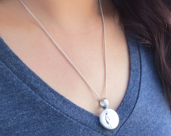 Fertility Necklace - KOKOPELLI Engraved Pendant,  comes w/ 2 gemstones